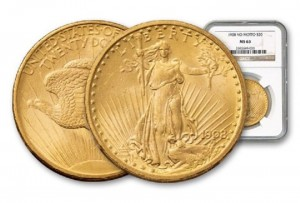 sample - 1908 $20 St. Gaudens Gold Double Eagle Coin No Motto MS-63